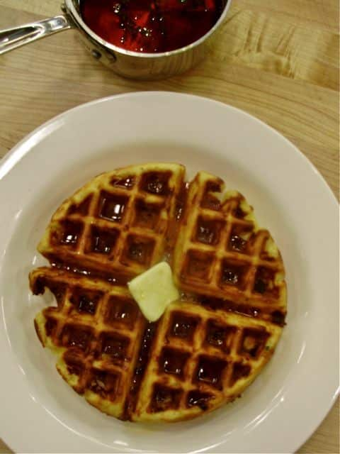 Take Your Cheddar One Step Further: Cheddar and Green Chile Waffles with Thyme Maple Syrup: gallery image 5