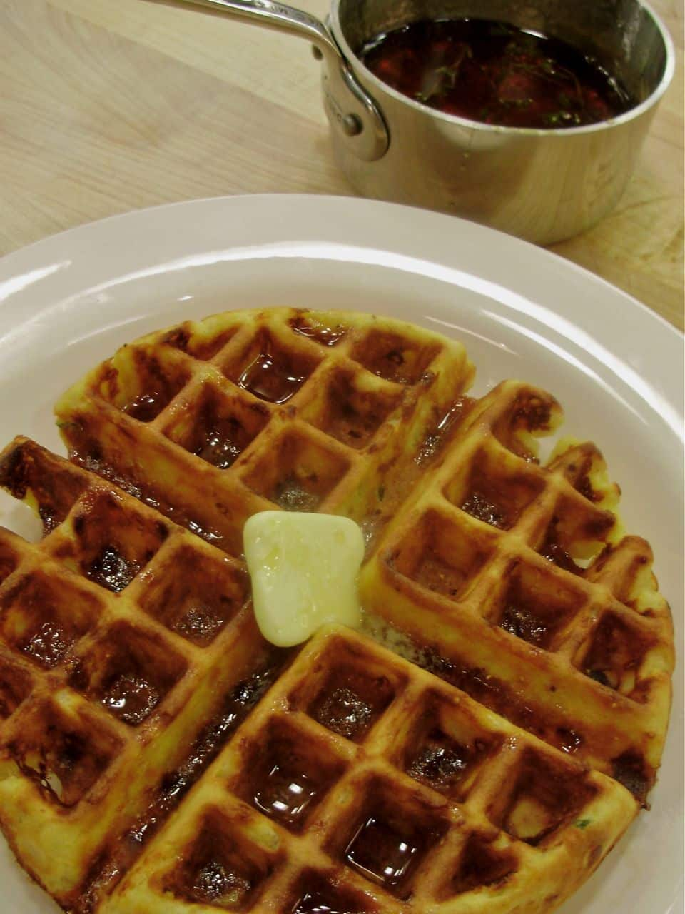 Take Your Cheddar One Step Further: Cheddar and Green Chile Waffles with Thyme Maple Syrup: gallery image 1