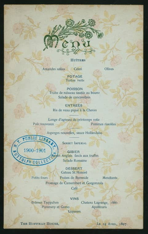 Print and Hang! Menus from the New York Public Library: gallery image 7