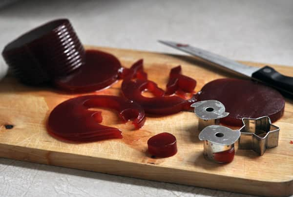 Thanksgiving Amuse-Bouche: Savory Goat Cheese Panna Cotta with Canned Cranberry Jelly Cut-Outs: gallery image 3