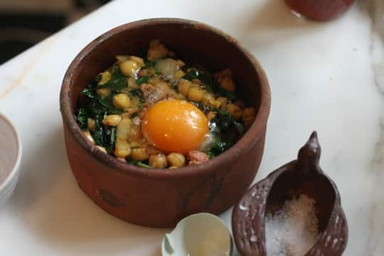 Recipe for One: Chickpeas, Kale, and Sausage with Oven-Baked Egg: gallery image 4