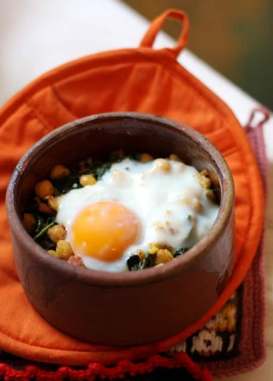 Recipe for One: Chickpeas, Kale, and Sausage with Oven-Baked Egg: gallery image 6