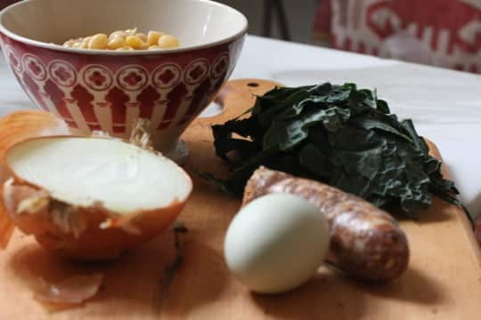 Recipe for One: Chickpeas, Kale, and Sausage with Oven-Baked Egg: gallery image 2