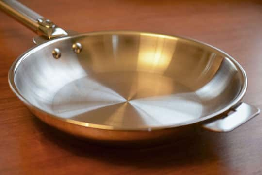 """Cristel """"L"""" Line with Removable Handles: 8.7-inch Brushed Stainless Steel Fry Pan: gallery image 2"""