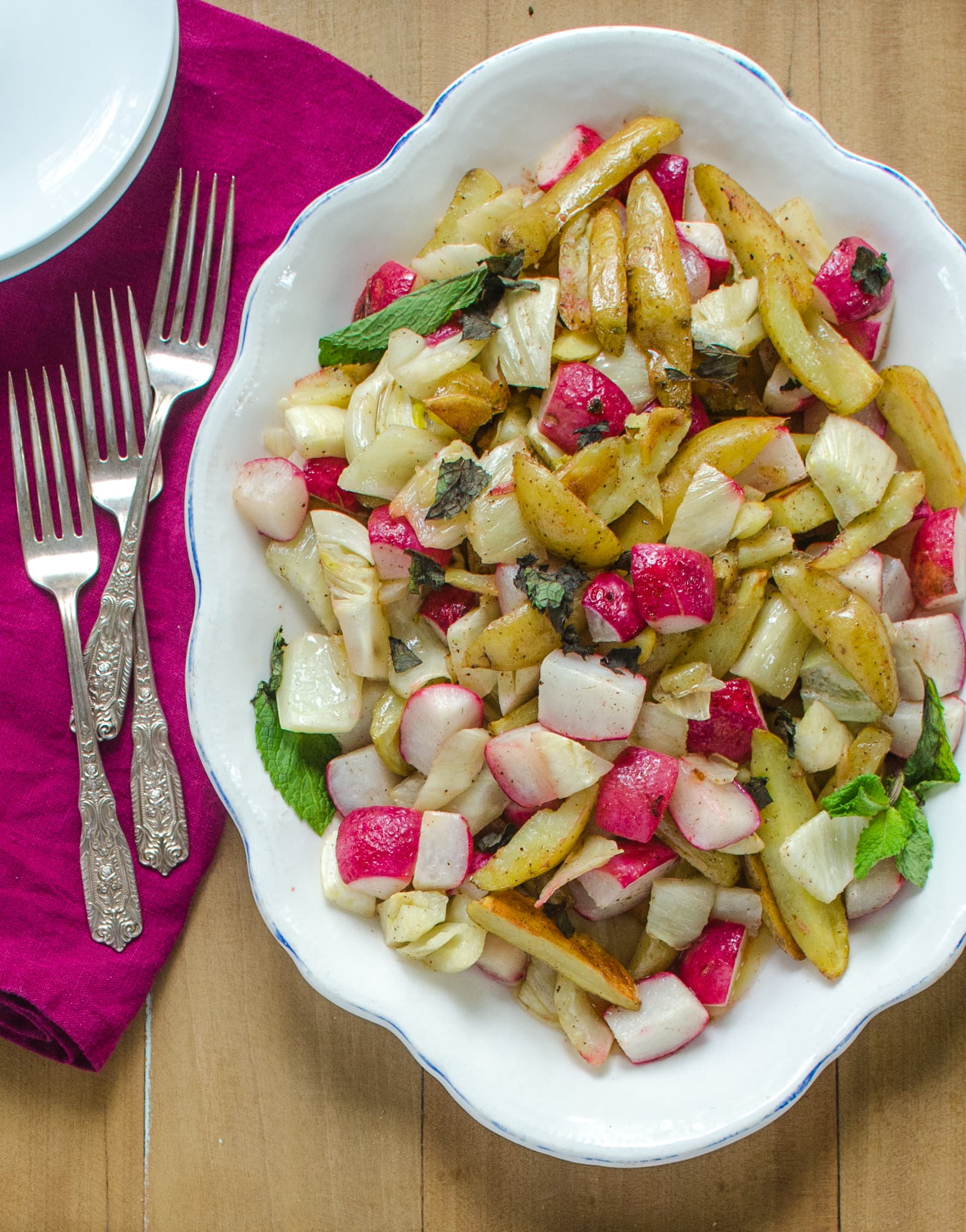 Side Dish Recipe: Roasted Potatoes, Fennel & Radishes with Lemon Brown Butter Sauce