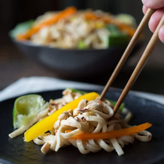 Peanut Noodle Salad, How to Make Asian Dumplings, Fruit-Packed Energy Bars & Couscous Salad with Cucumber: gallery image 1