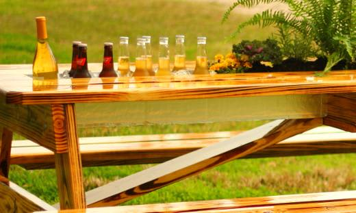 The Best Thing Ever for an Outdoor Party? Beer and Wine Gutter Picnic Tables: gallery image 3