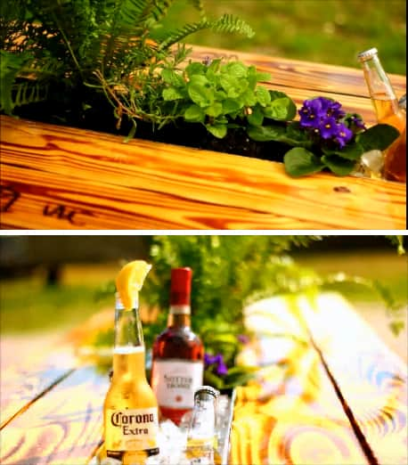 The Best Thing Ever for an Outdoor Party? Beer and Wine Gutter Picnic Tables: gallery image 2