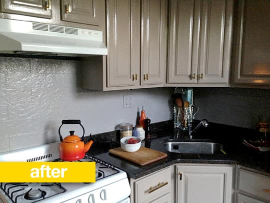 Rental Kitchen Before & After: A New Color Scheme and a Wallpapered Ceiling!
