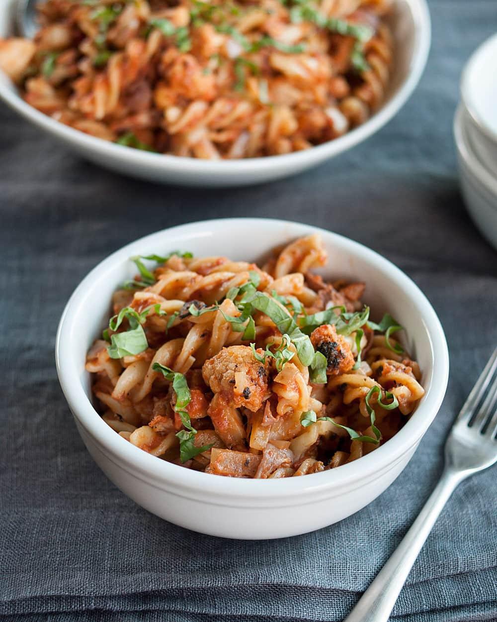 Recipe: Pan-Roasted Cauliflower & Pasta with Tomato-Cream Sauce