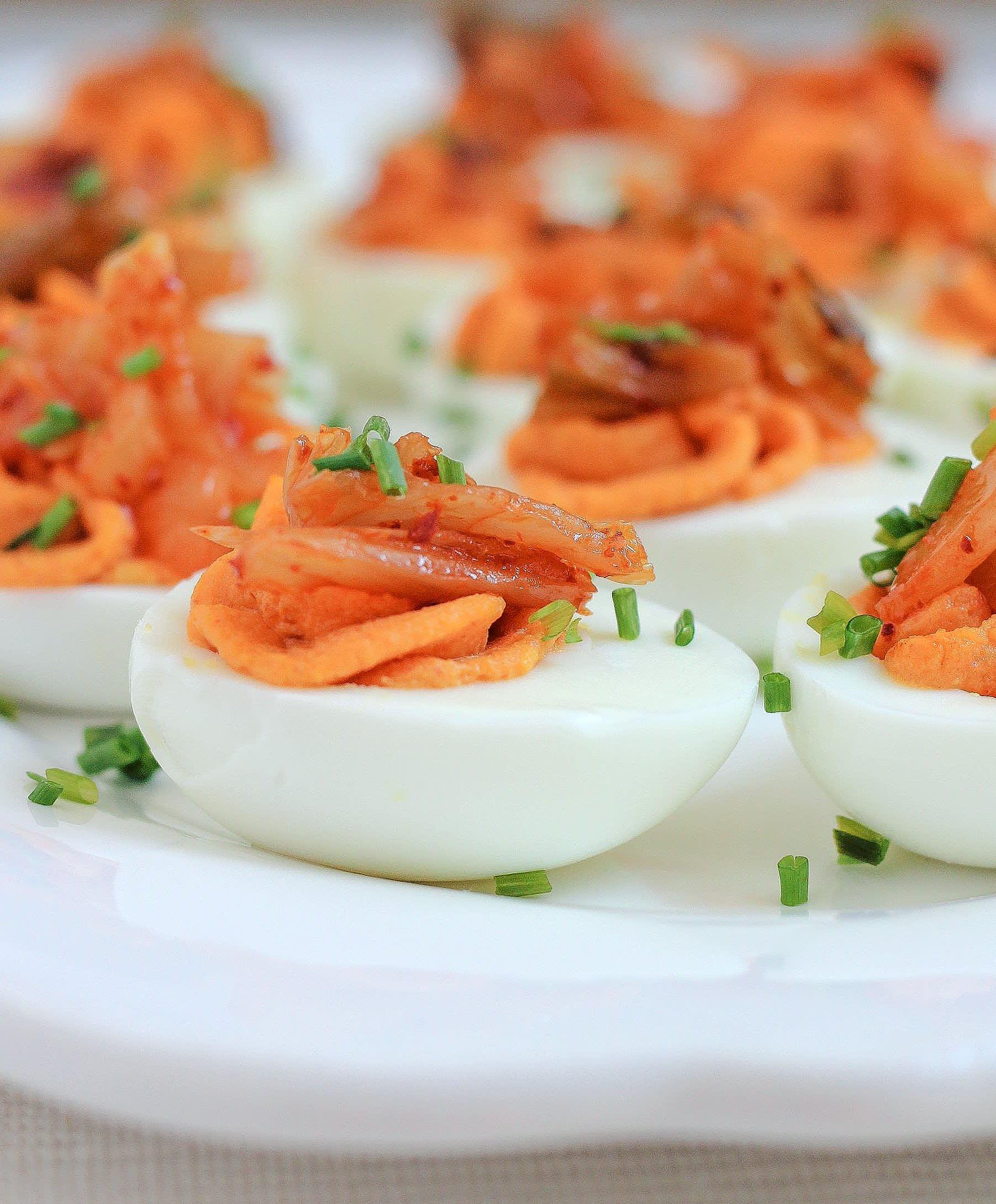 Recipe: Kimchi Deviled Eggs | Kitchn