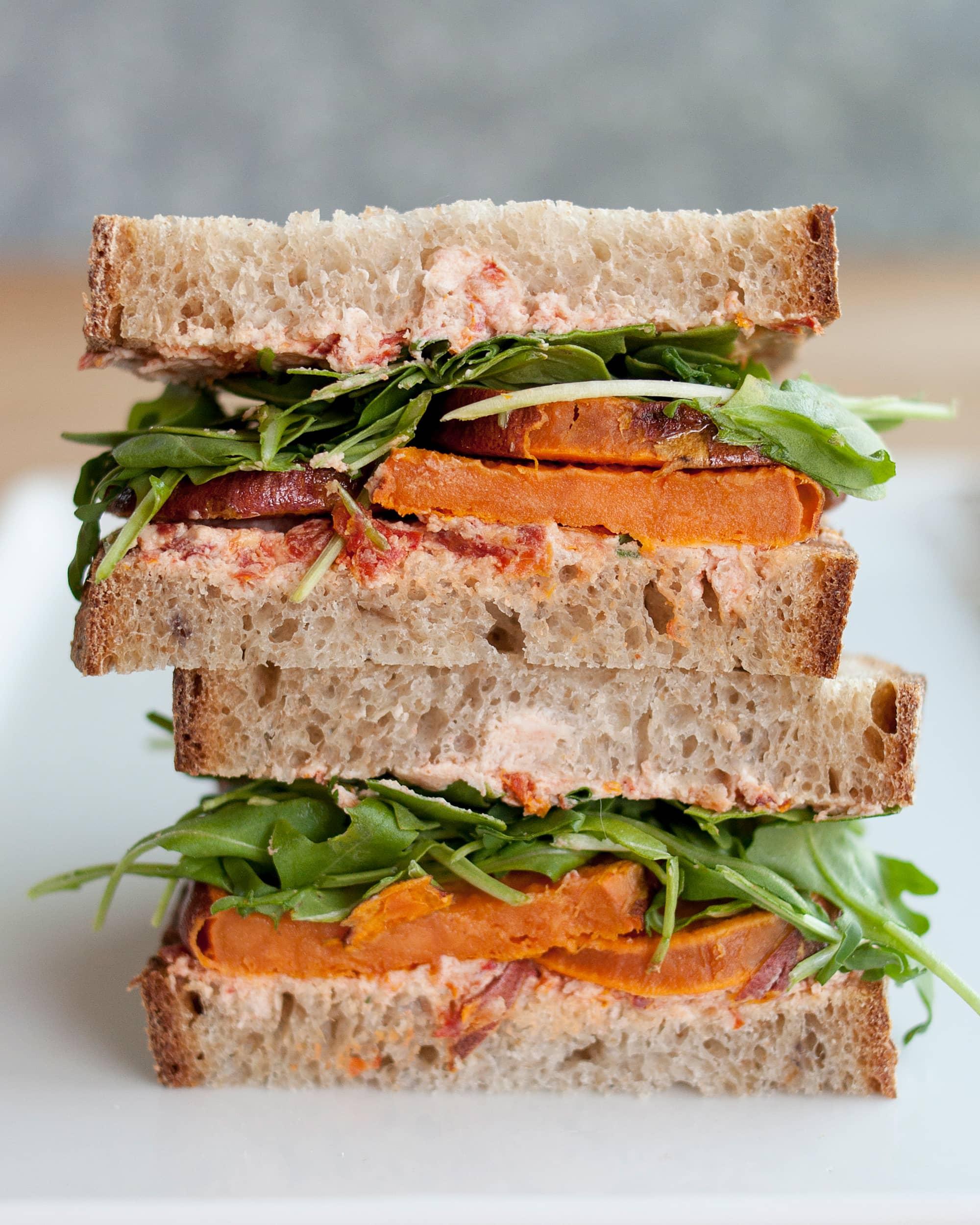 Recipe: Roasted Sweet Potato, Goat Cheese & Arugula Sandwiches