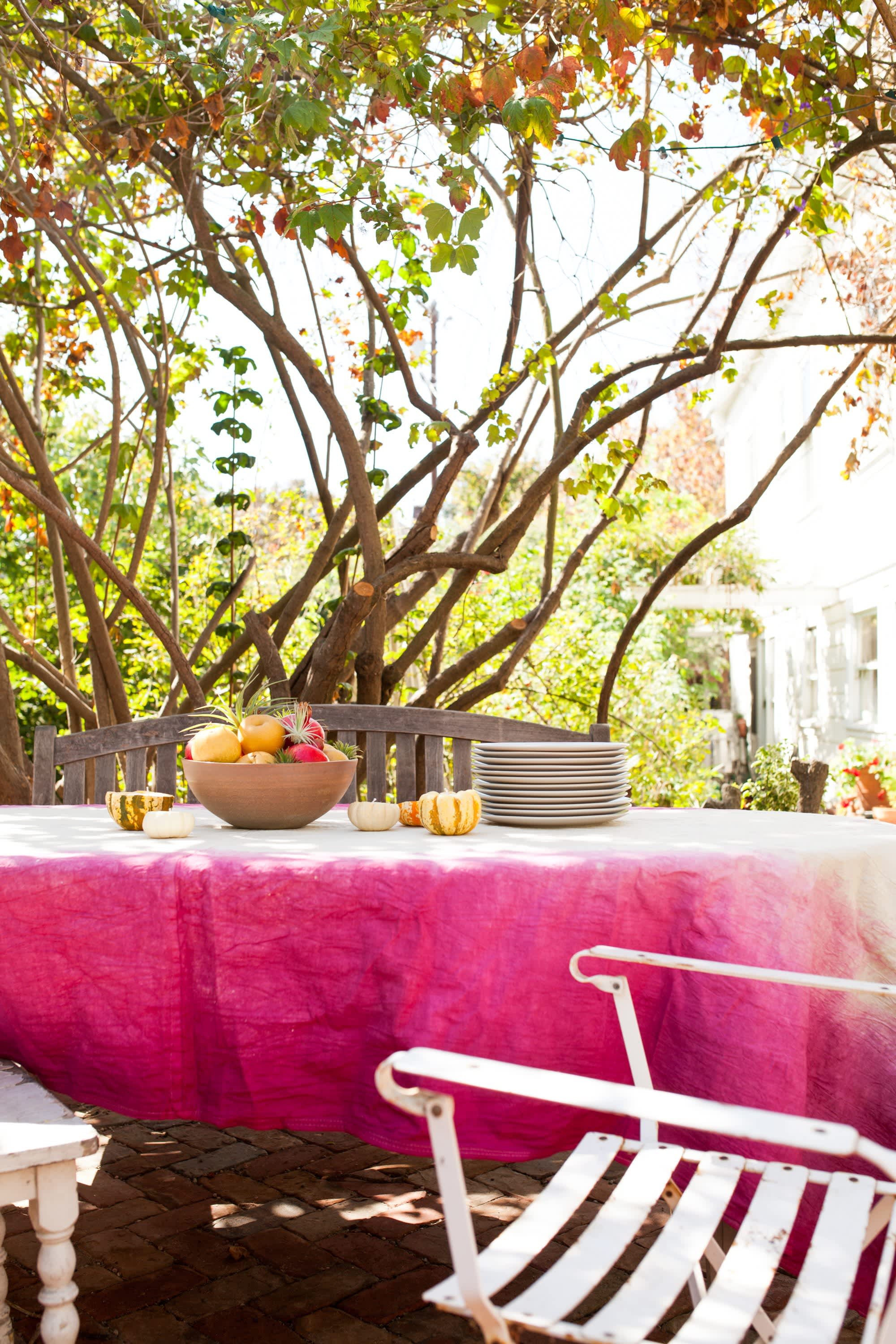 How To Dip Dye A Tablecloth Kitchn