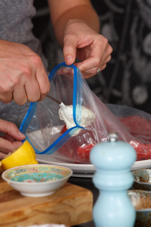 Recipe: Flank Steak with Yogurt-Horseradish Sauce and Blue Cheese Sauce: gallery image 6