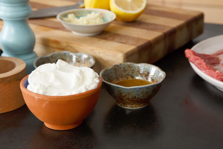 Recipe: Flank Steak with Yogurt-Horseradish Sauce and Blue Cheese Sauce: gallery image 2