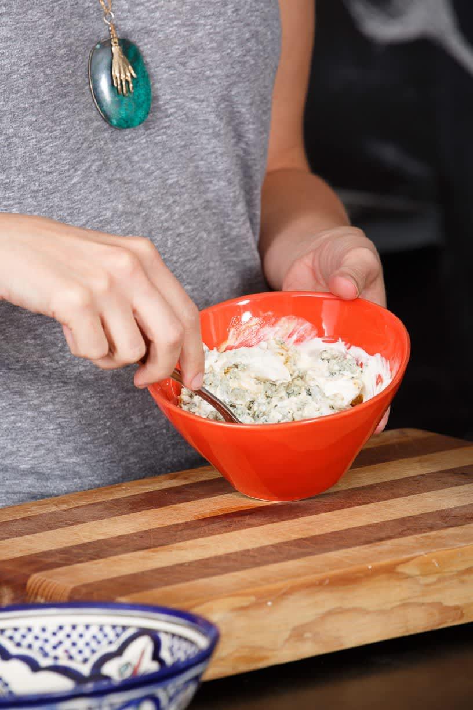 Recipe: Flank Steak with Yogurt-Horseradish Sauce and Blue Cheese Sauce: gallery image 9