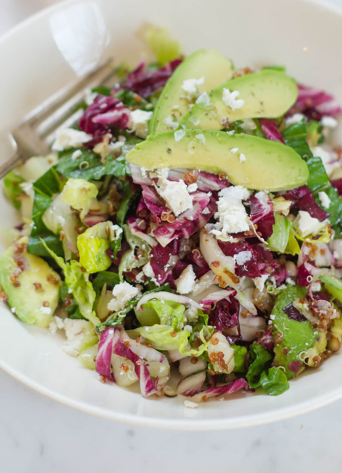 Lunch Recipe: Radicchio Salad with Avocado, Red Quinoa, & Ricotta Salata
