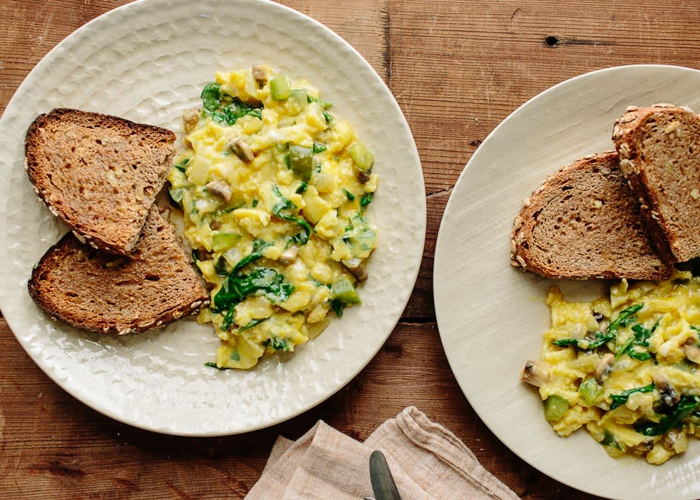 Recipe: Scrambled Eggs With Green Peppers & Mushrooms | Kitchn