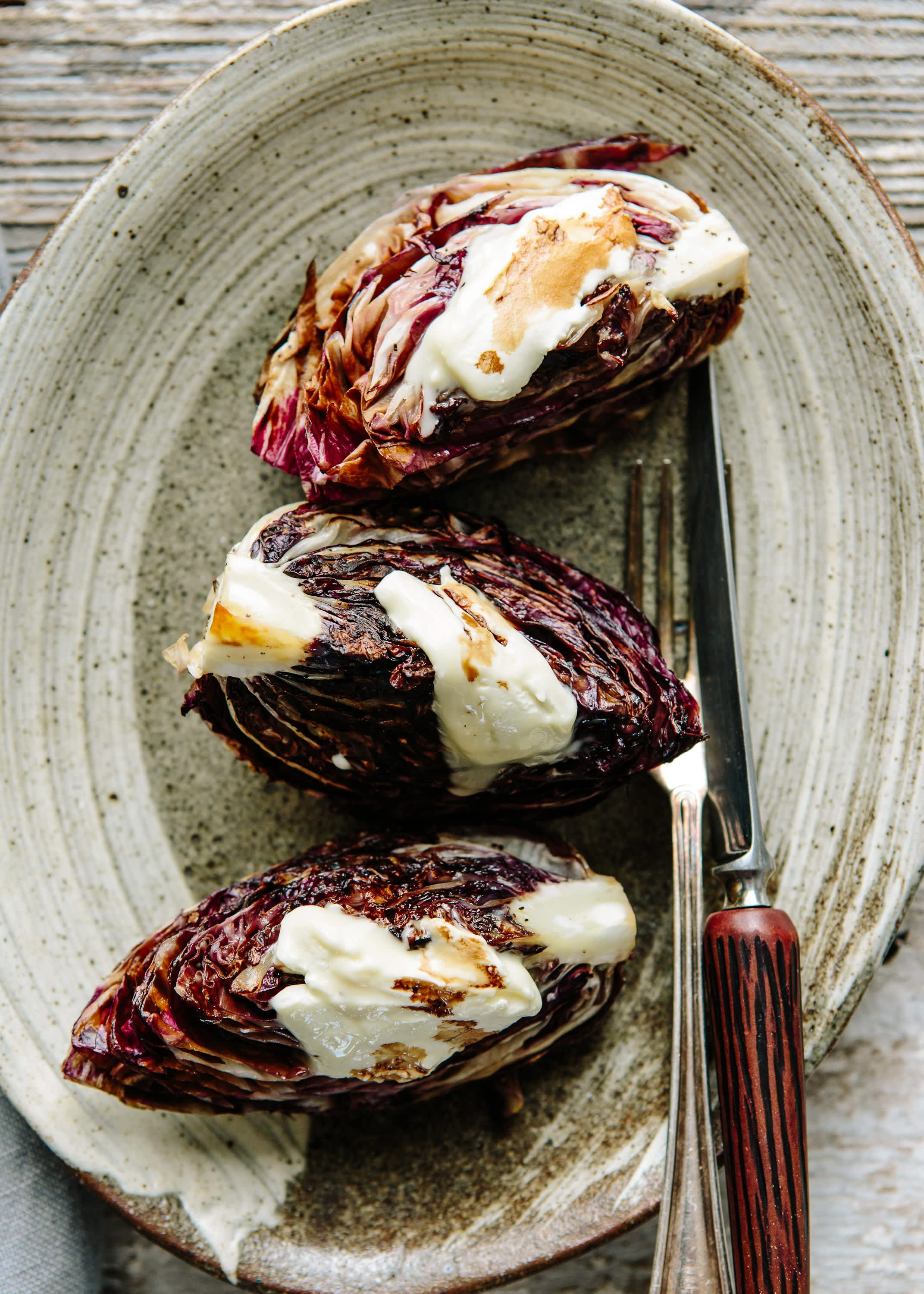 Recipe: Grilled Radicchio with Creamy Cheese   Kitchn