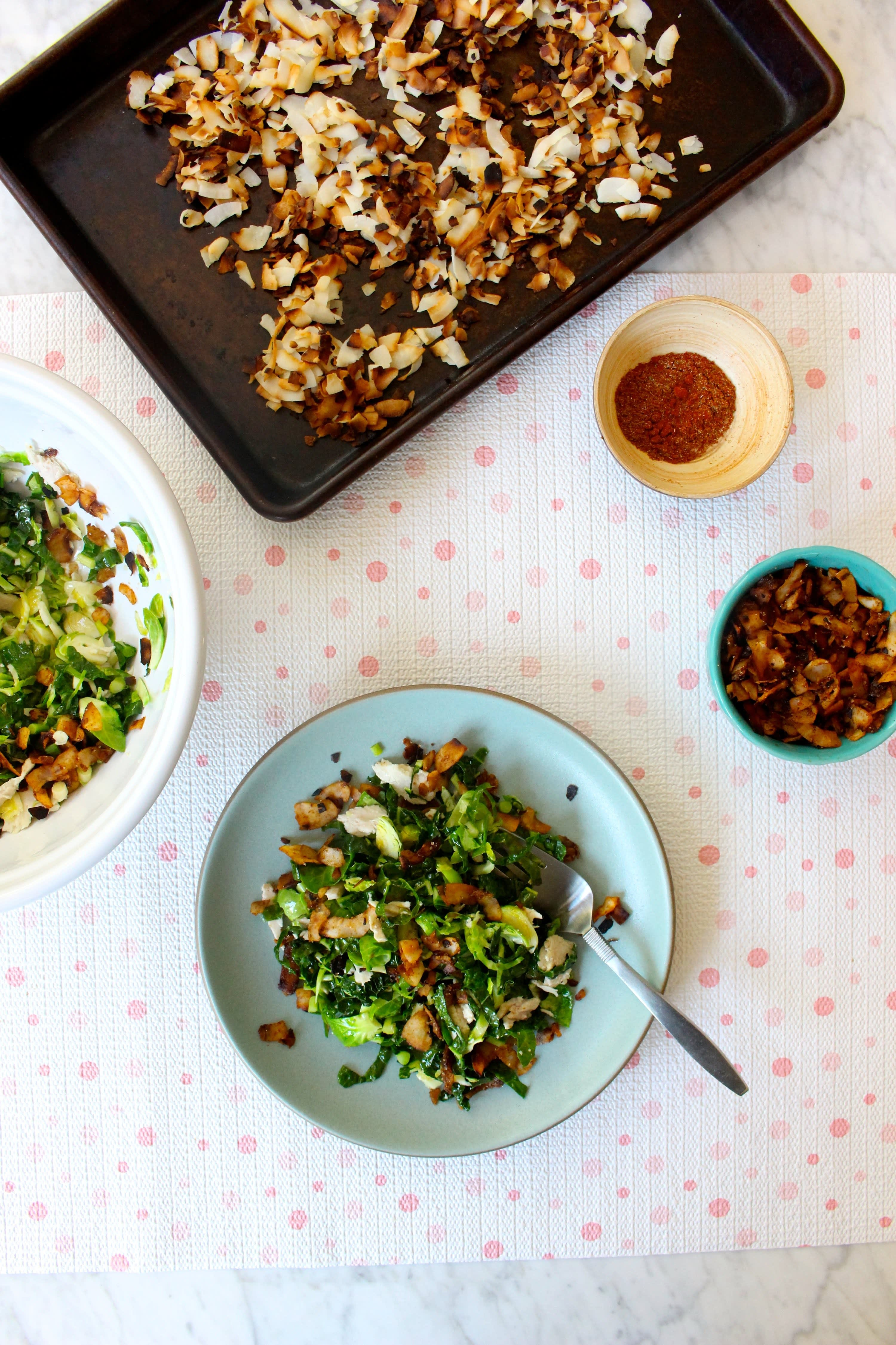 Coconut Bacon Bits and Salad