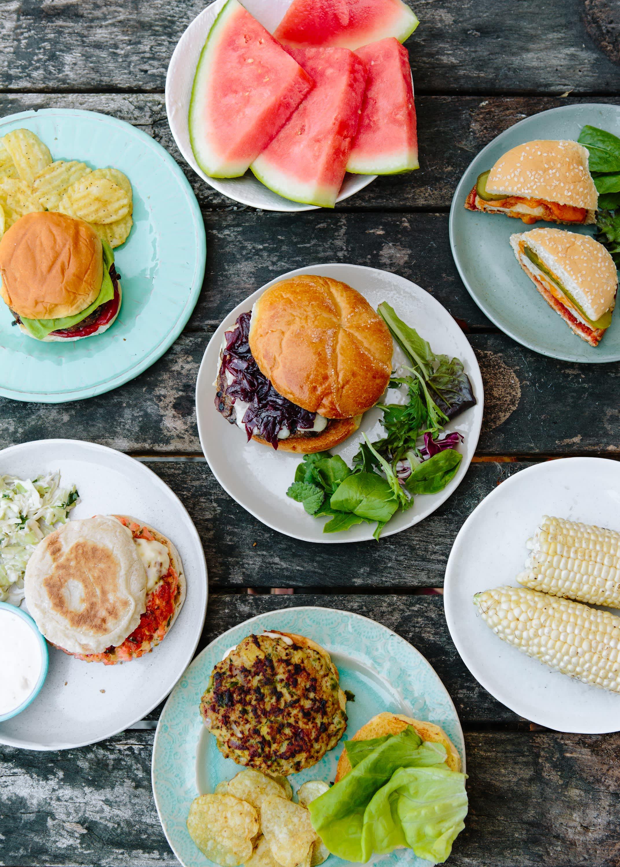 An assortment of burgers