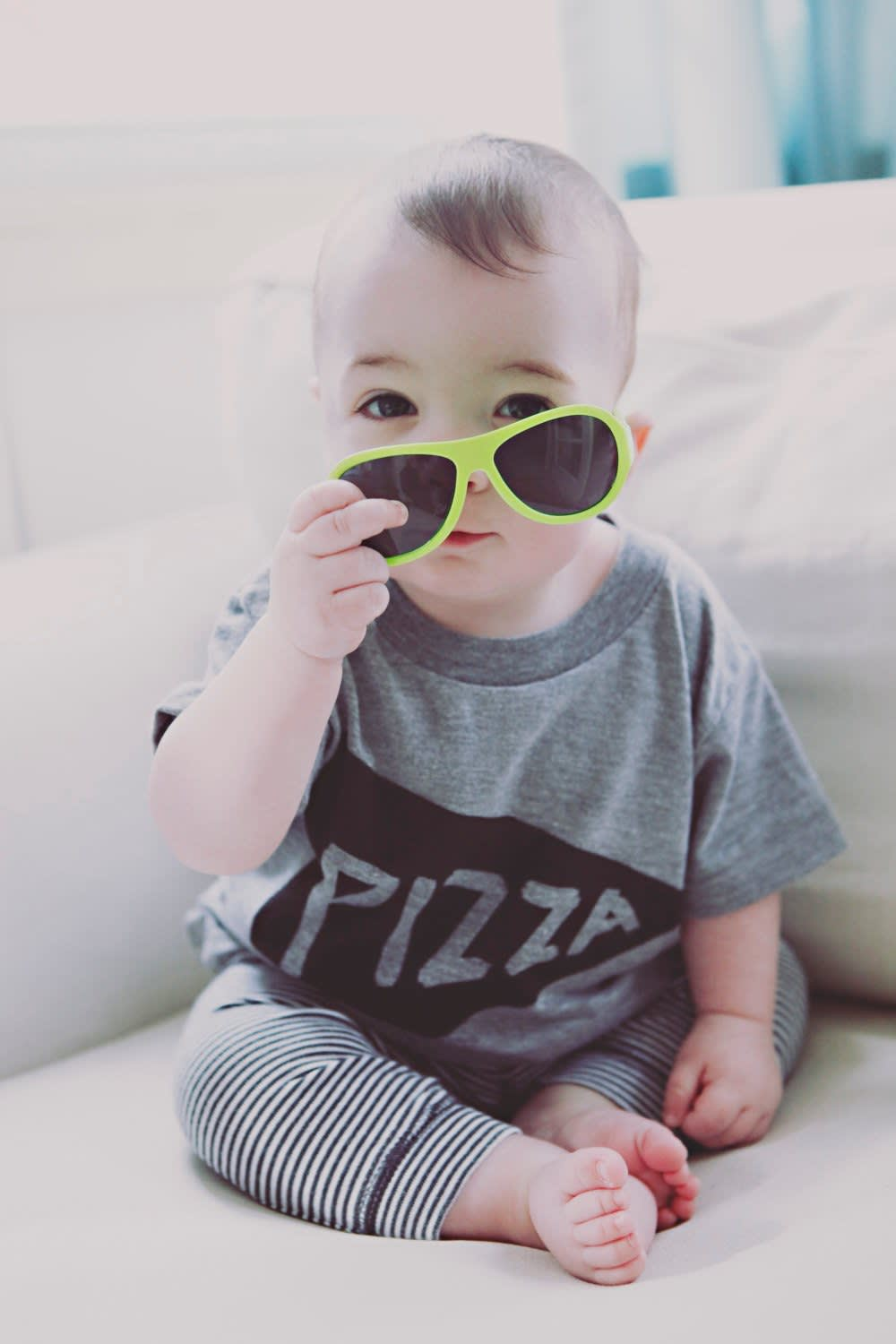 Baby in pizza t-shirt