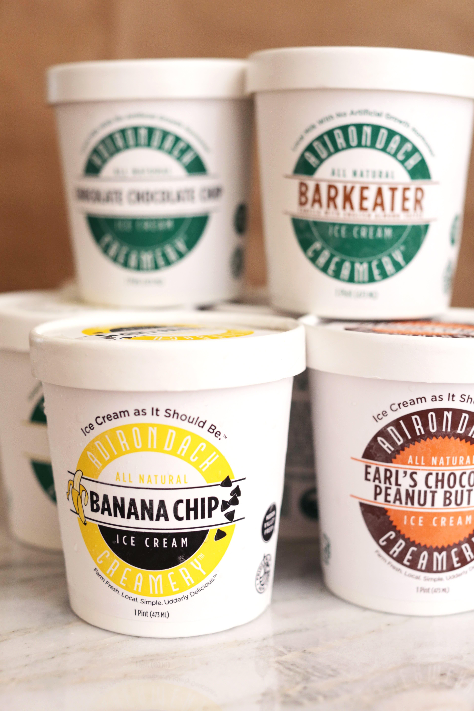 Pints of ice cream from Adirondack Creamery