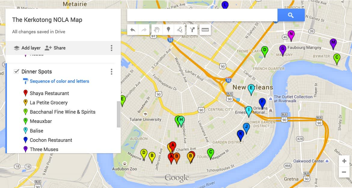 Google Map of places to eat