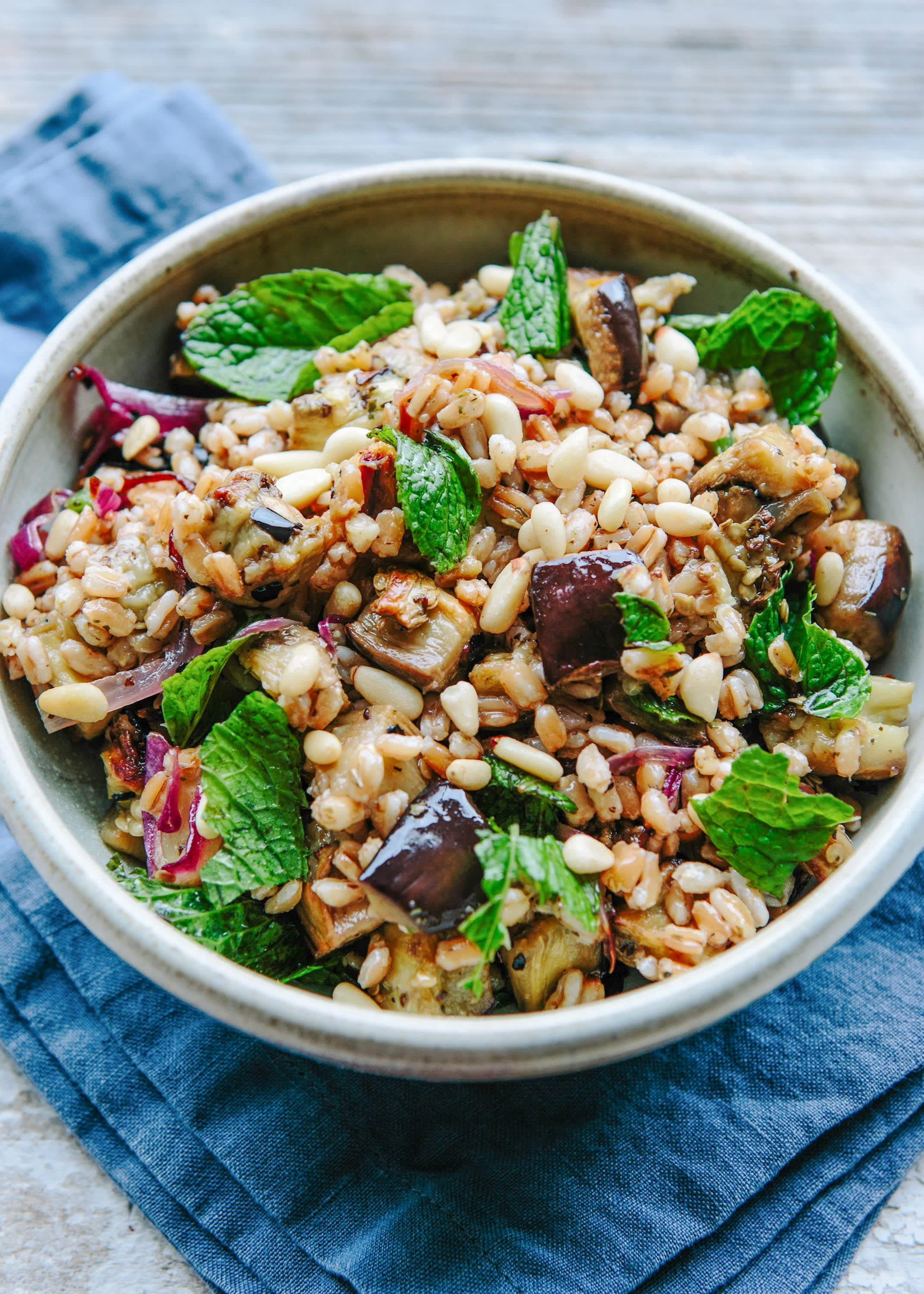 Farro Salad with Roasted Eggplant, Caramelized Onion, and Pine Nuts