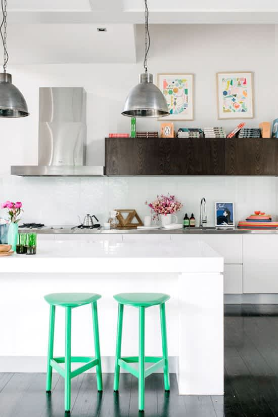 Look We Love: Kitchen Counters with Bright Bar Stools: gallery image 10
