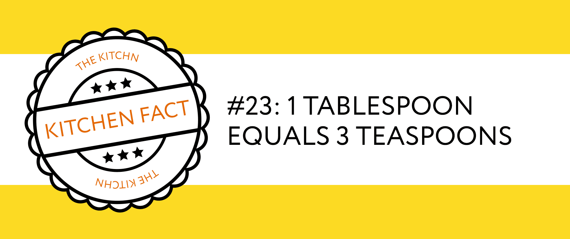 Kitchen Fact: 1 tablespoon equals 3 teaspons