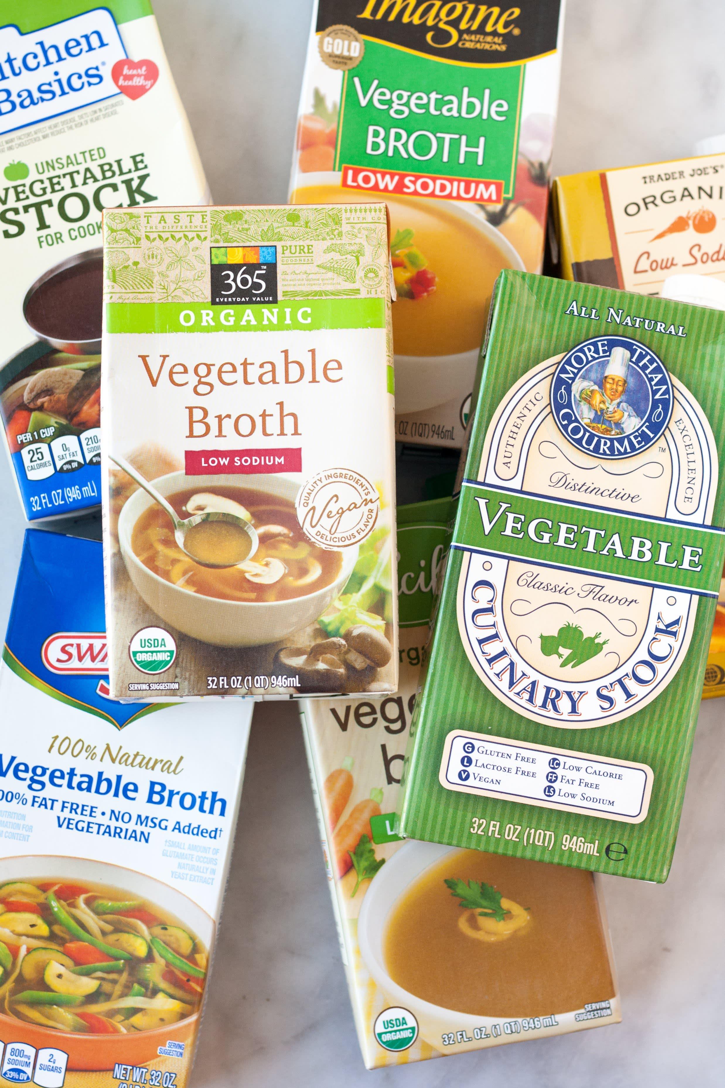 Seven brands of vegetable broth