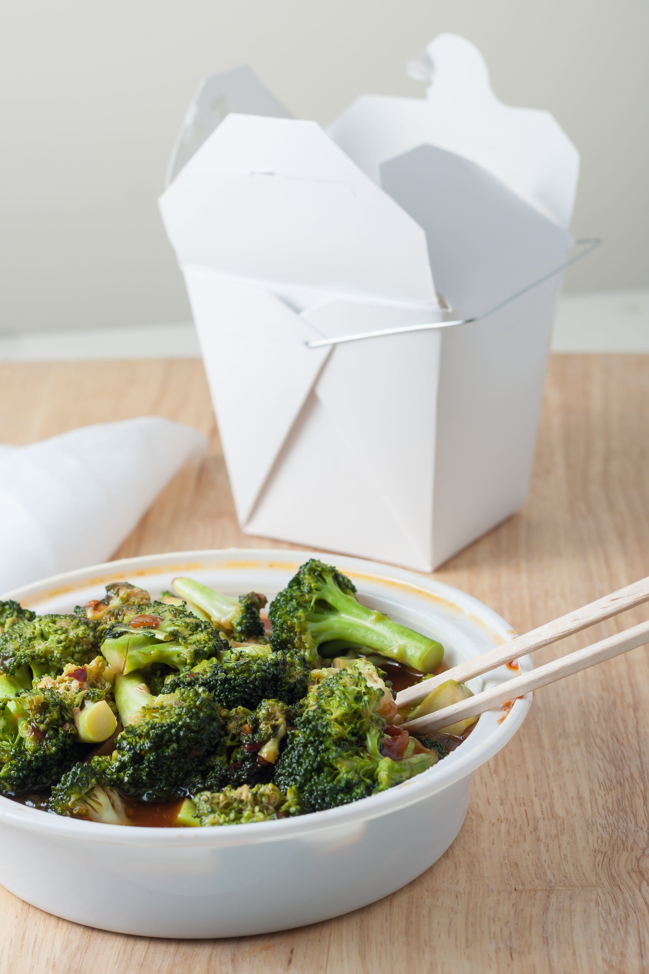 Chinese Takeout Broccoli with Garlic Sauce and Rice