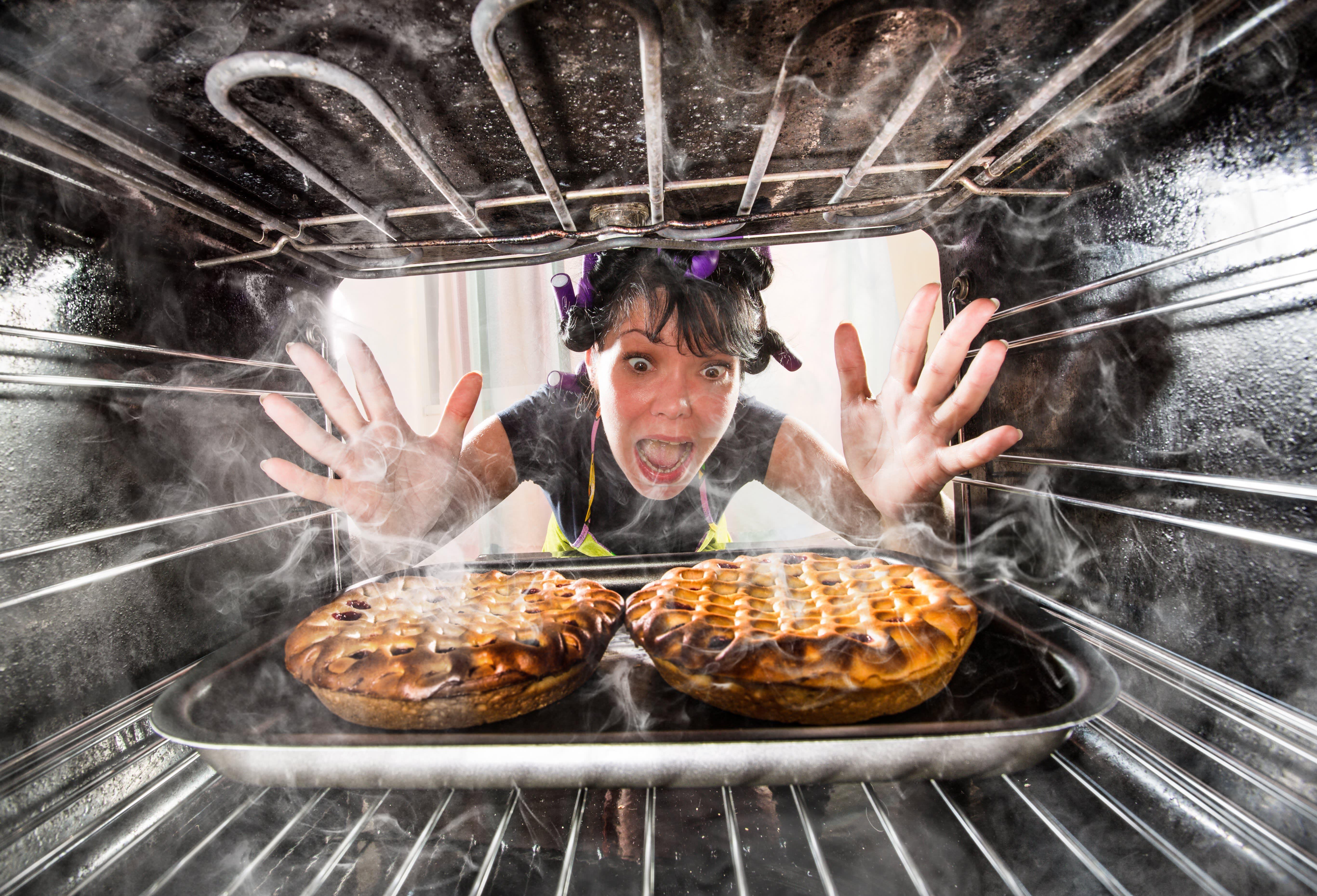 Pie burned in oven
