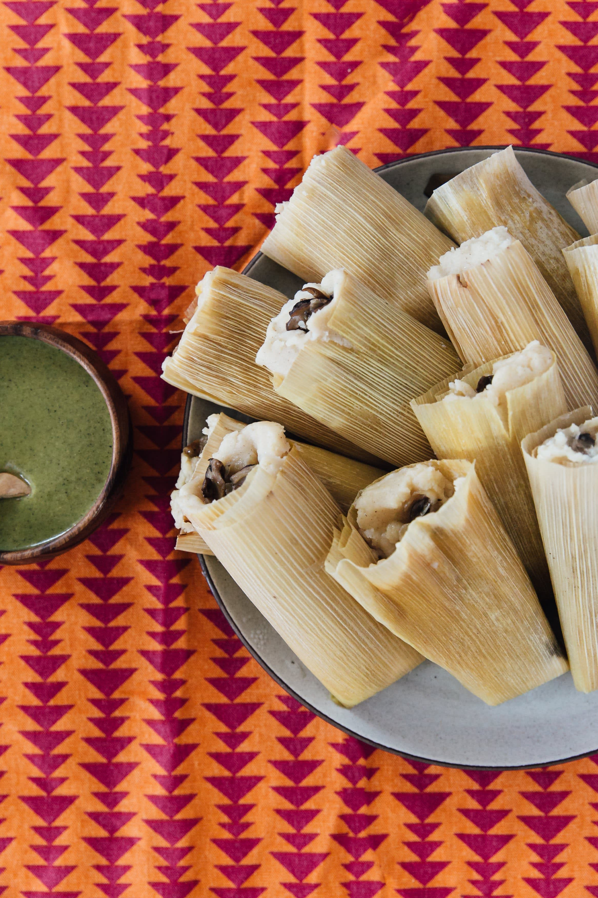 Mushroom and goat cheese tamales