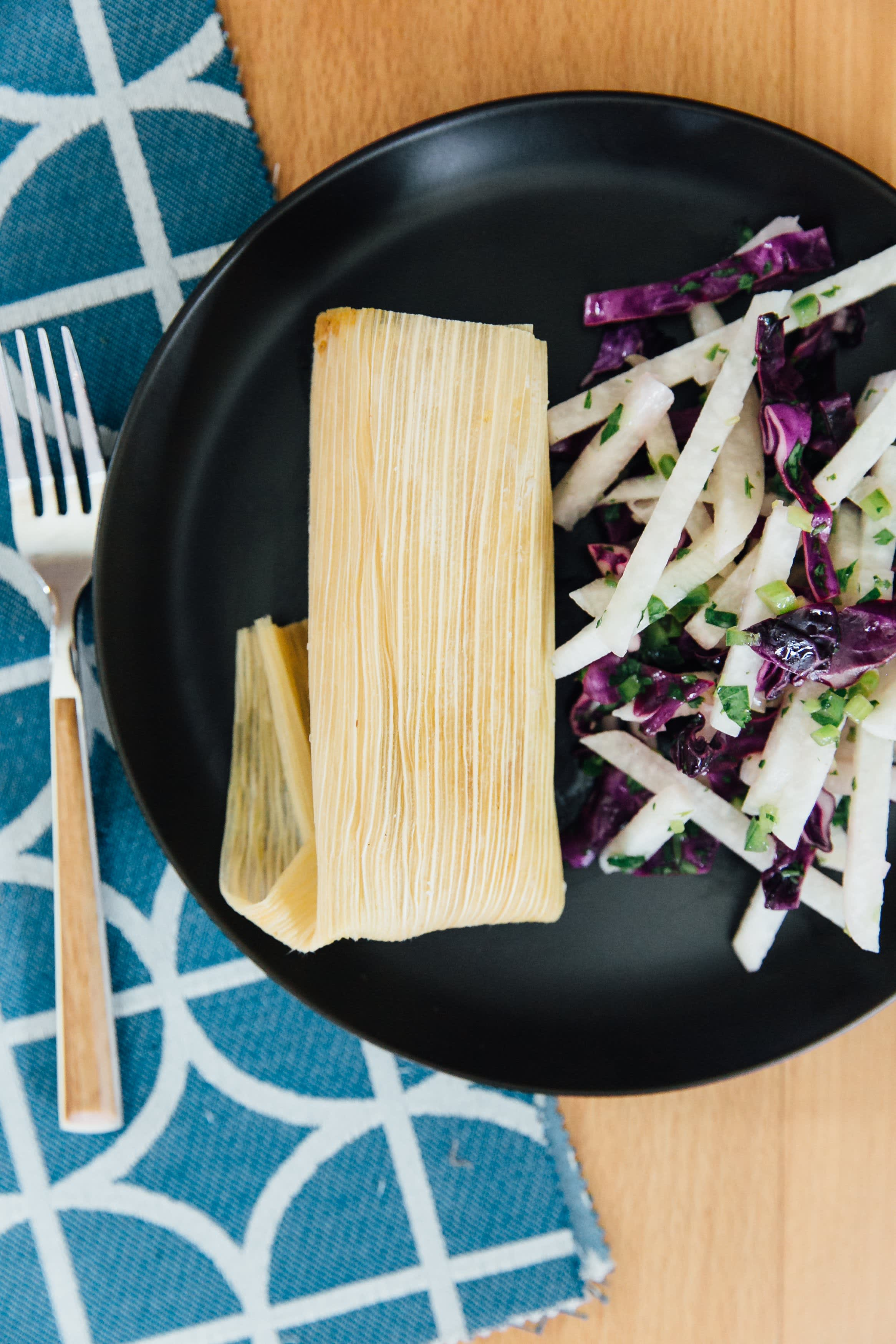 Tamale and jicama slaw