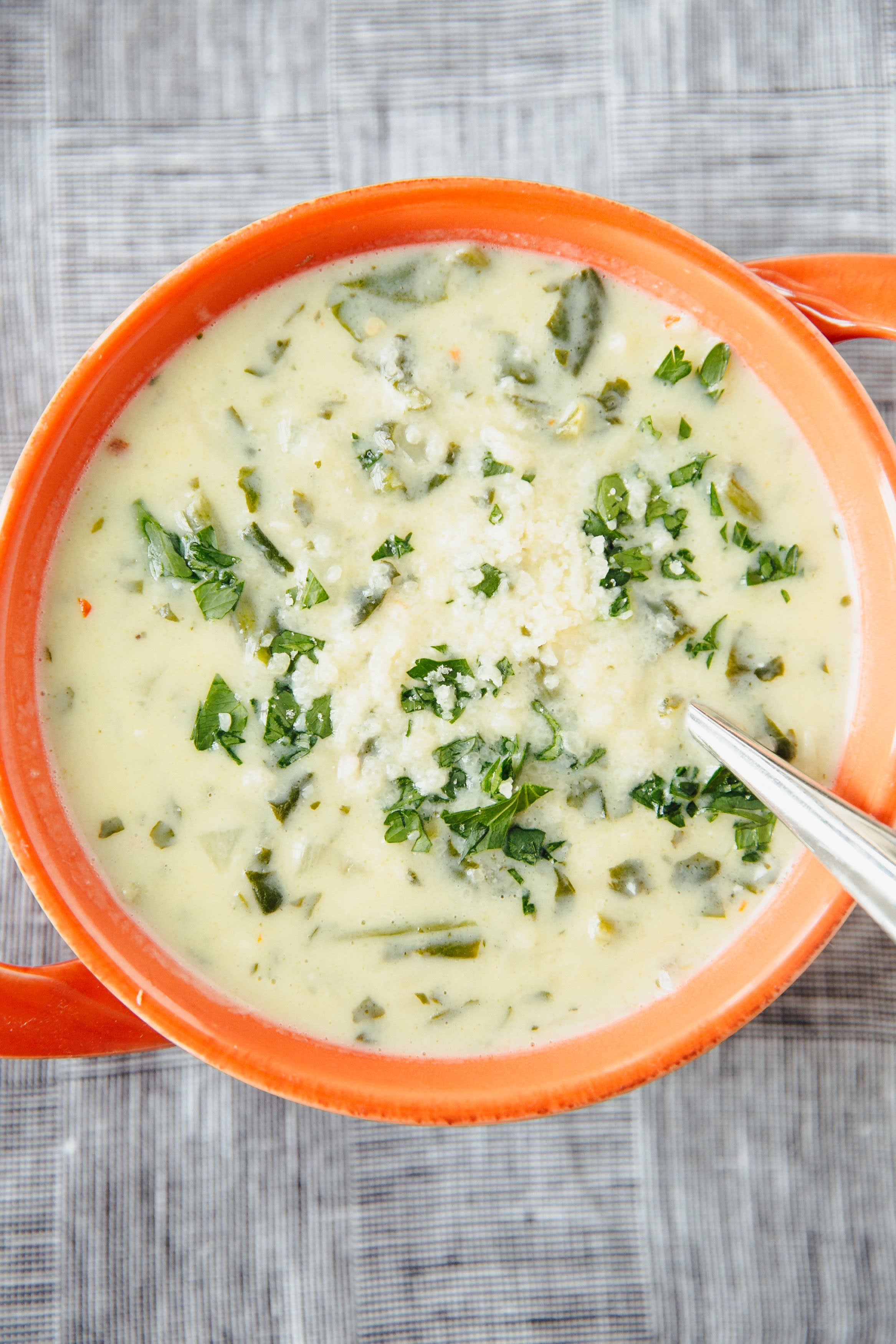 Spinach and Lemon Soup with Orzo