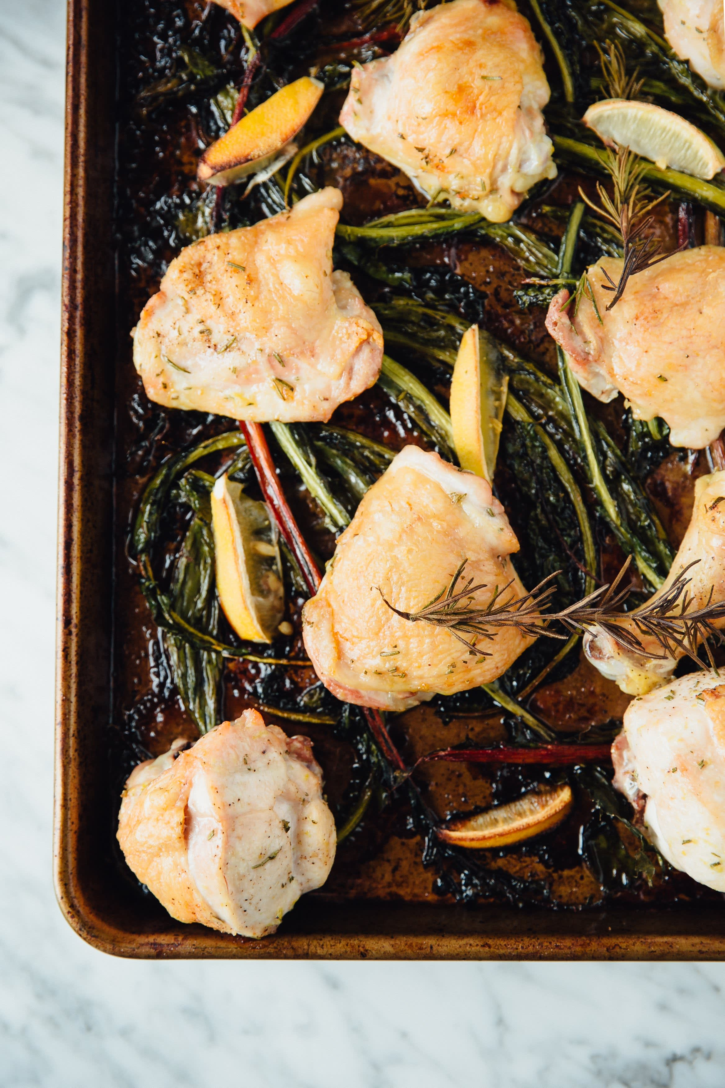 Roasted Lemon-Rosemary Chicken and Winter Green Stems