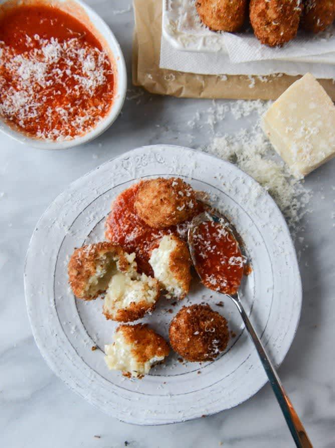 Fontina, Roasted Garlic, and Goat Cheese Arancini