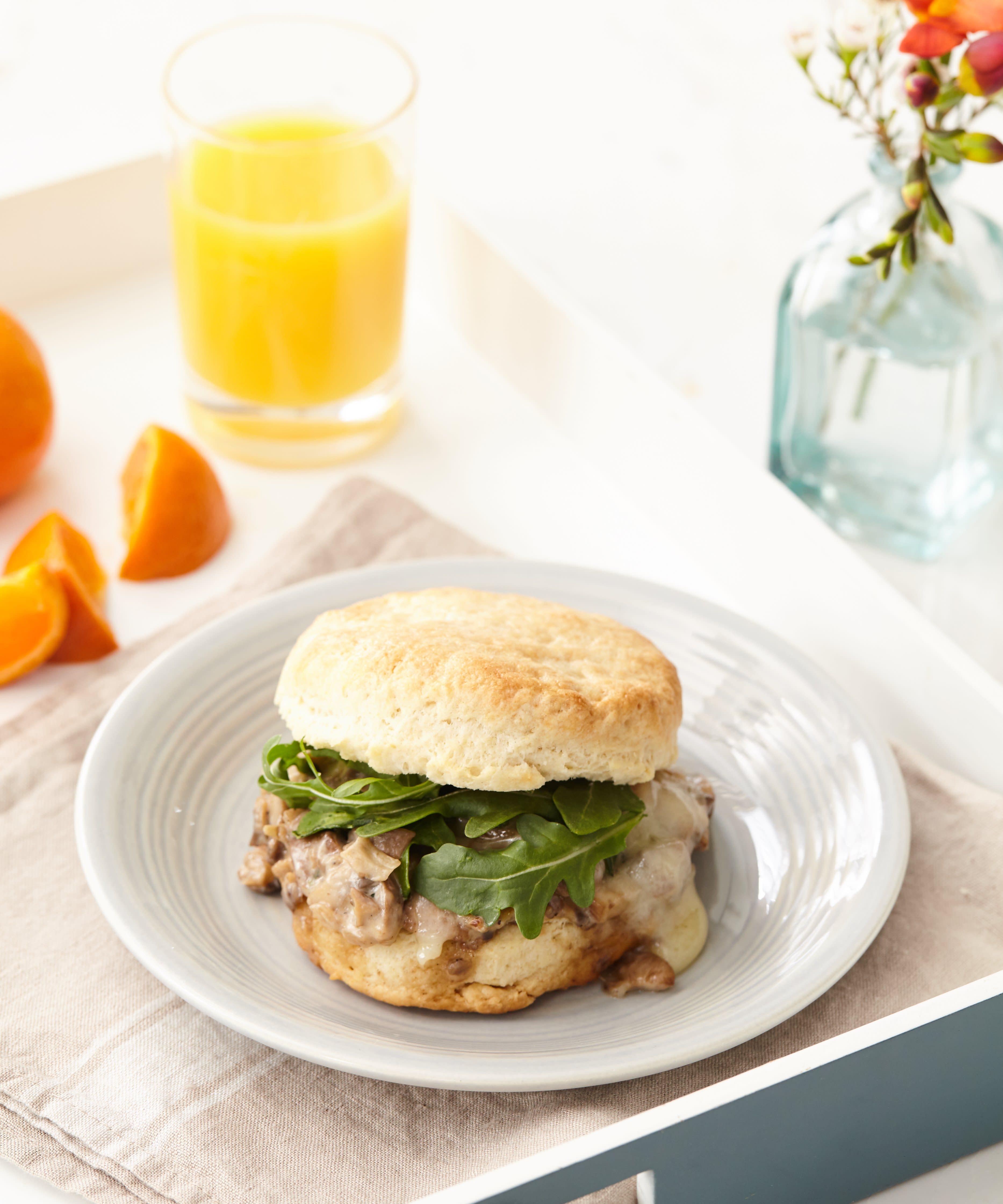 Creamy Mushroom Biscuit Sandwiches