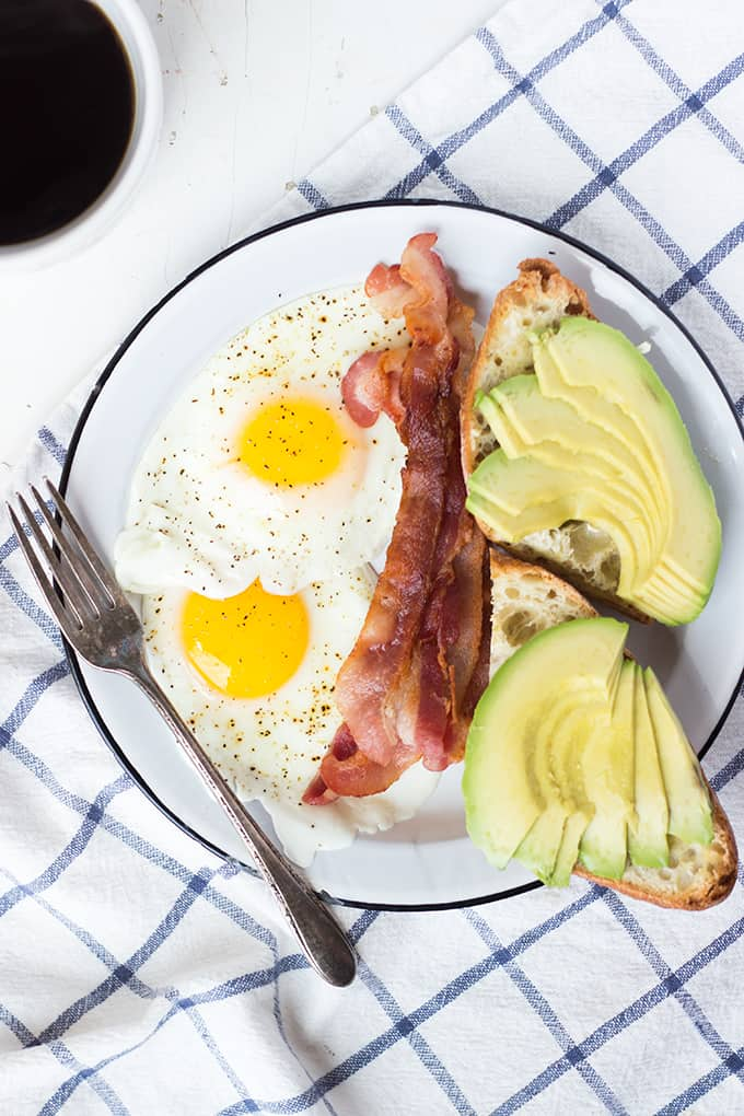 Millennial Breakast of Bacon and Eggs with Avocado Toast