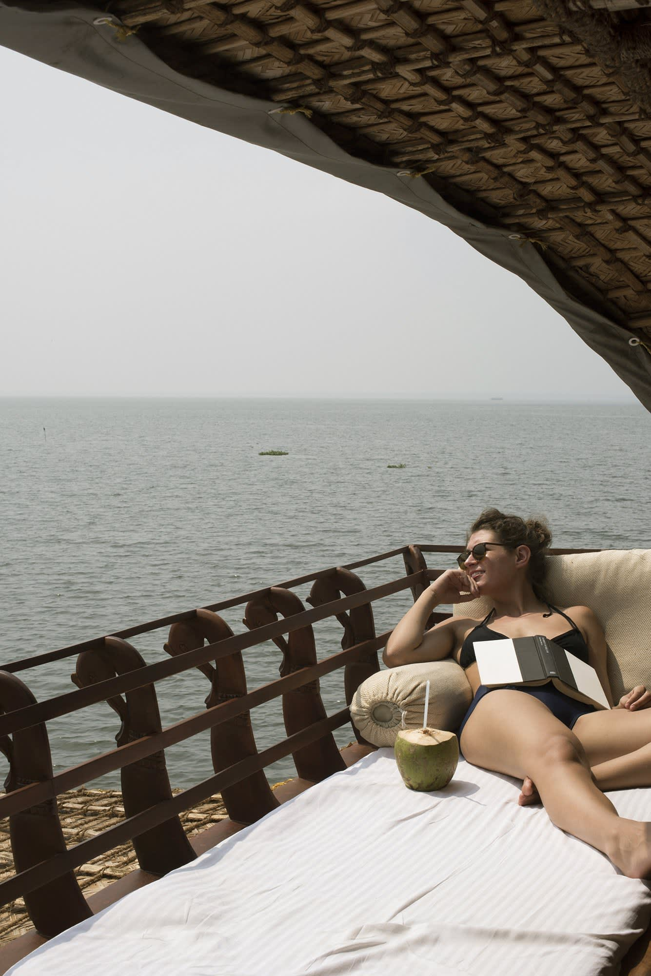 lounging on a houseboat in Kerala