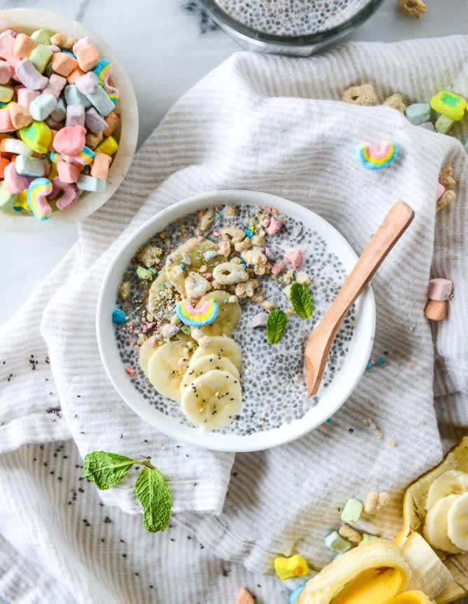 Cereal Milk Chia Pudding with Lucky Charms Crumbs