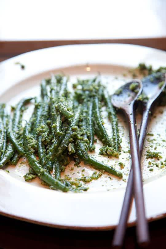 Green Beans with Almond Pesto Under an Egg