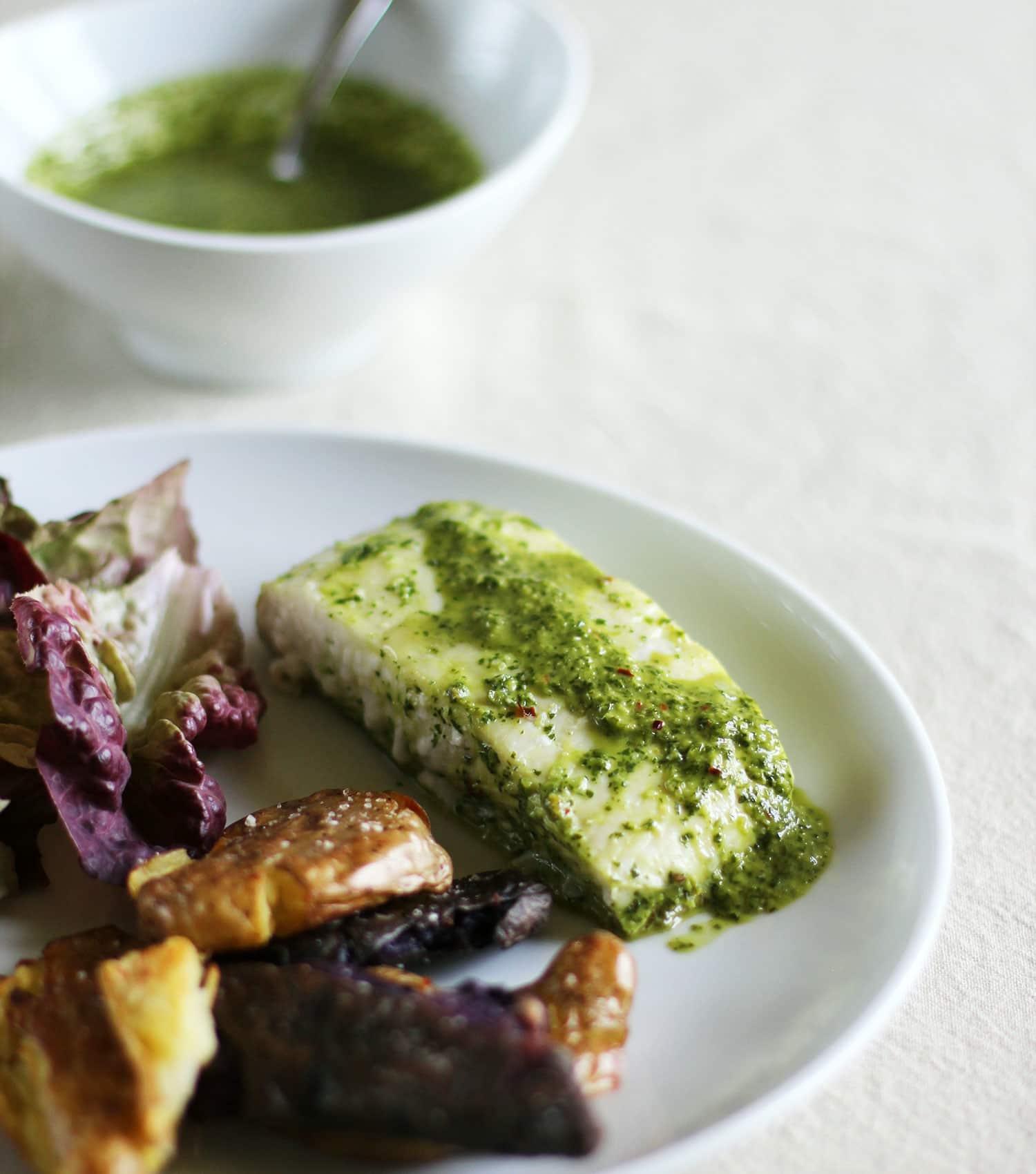 Recipe: Baked Chimichurri Halibut