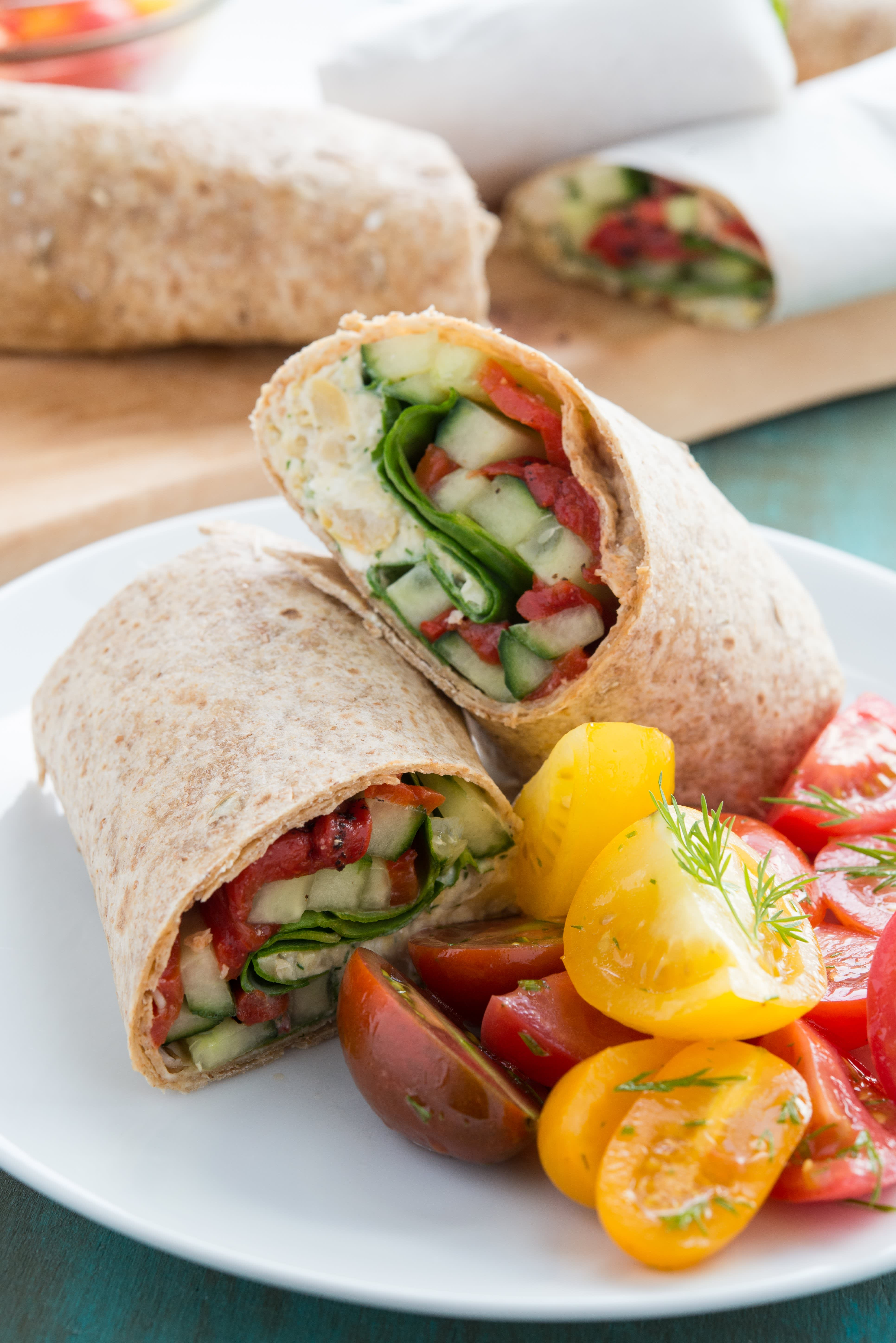 Chickpea, Feta, and Spinach Wraps