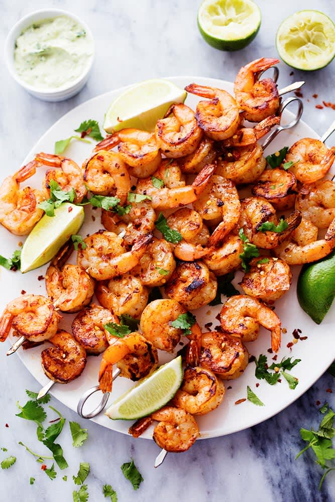 You Need This Grilled Spicy Shrimp with Creamy Avocado Sauce at Your Next BBQ