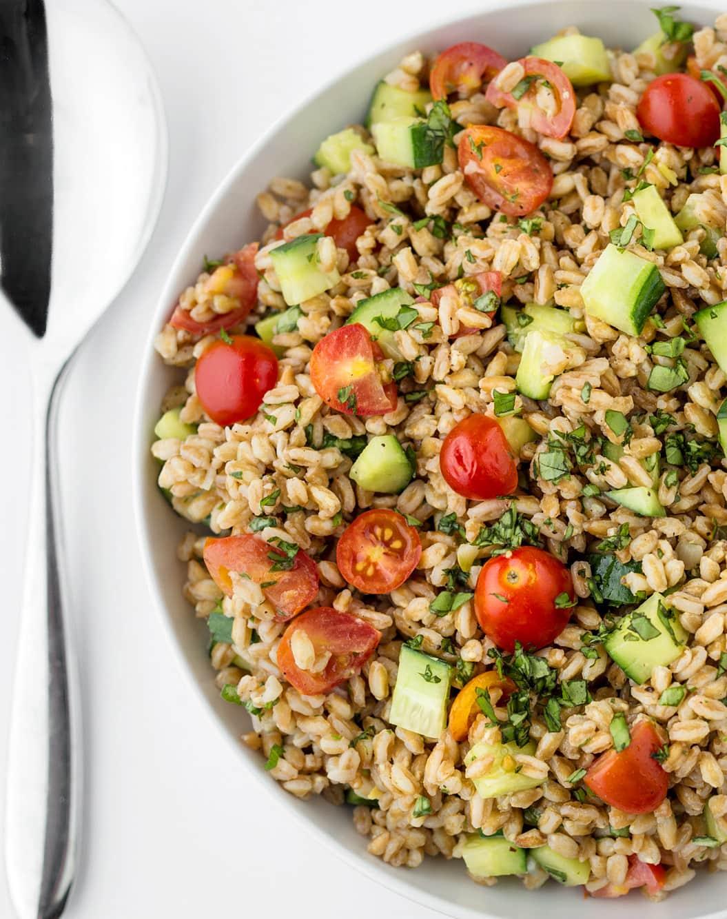 Recipe: Summer Farro Salad with Tomatoes, Cucumbers & Basil