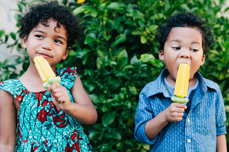 Kids eating Mango-Coconut Ice Pops