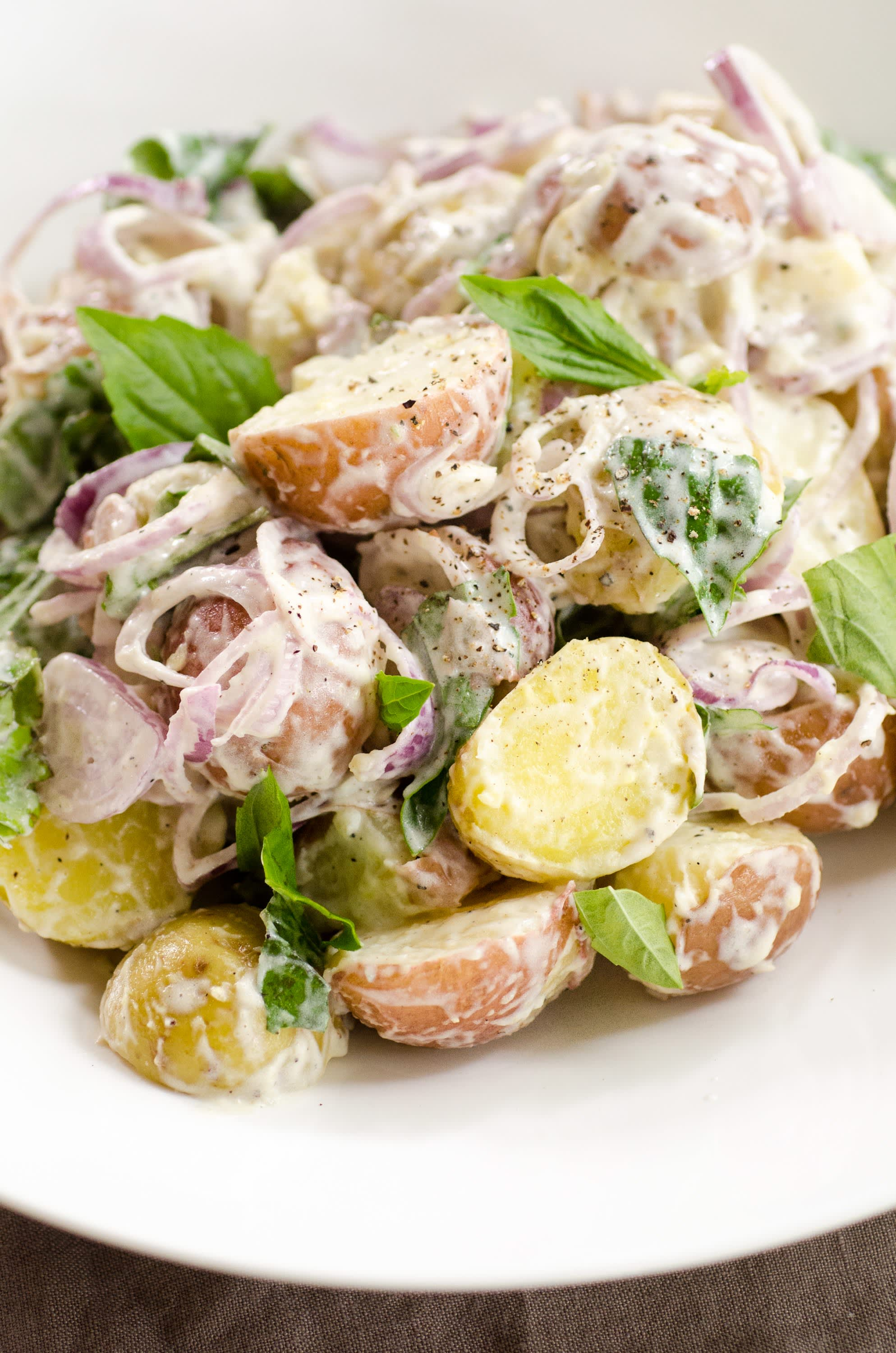 Mixed new potato salad with basil and shallots